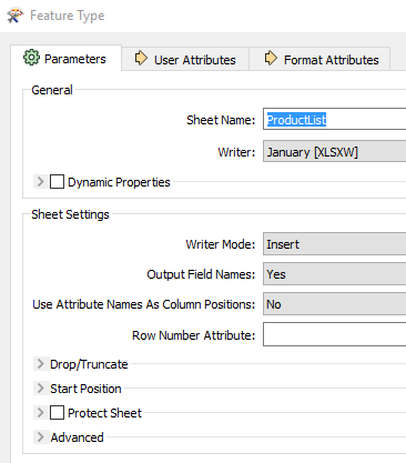 About Feature Type Parameters, User Attributes, and Format